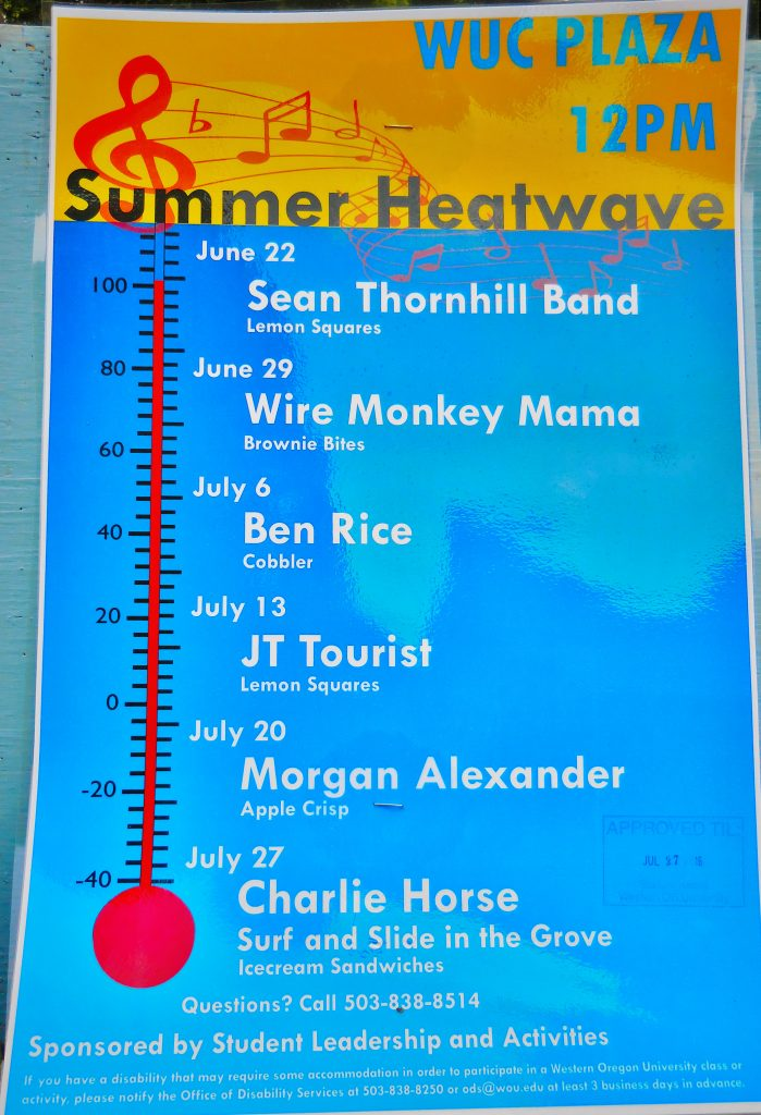 A poster advertising Summer Heatwave Concert Series 2016 with the bands and dates they are playing