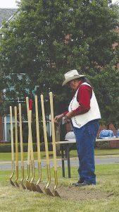 Tribal elder Bob Tom blesses the ground during Western Oregon University's groundbreaking ceremony on Friday.