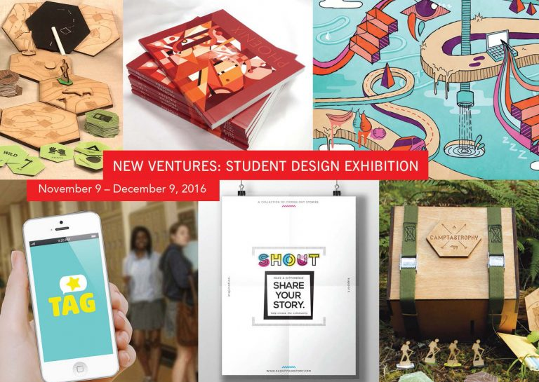 Seek peek pictures of select pieces for the New Ventures: Student Design Exhibiton, Nov. 9th - Dec 9th, 2016