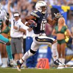 San Diego Chargers wide receiver Tyrell Williams runs for a touchdown after a catch.