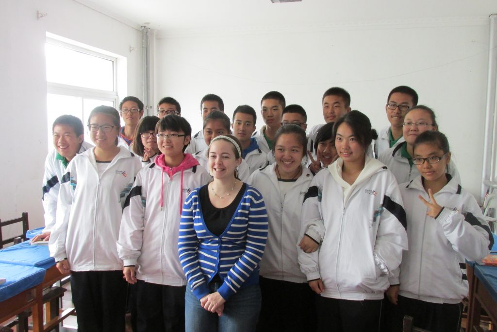 Laura Gage with her English language students in China