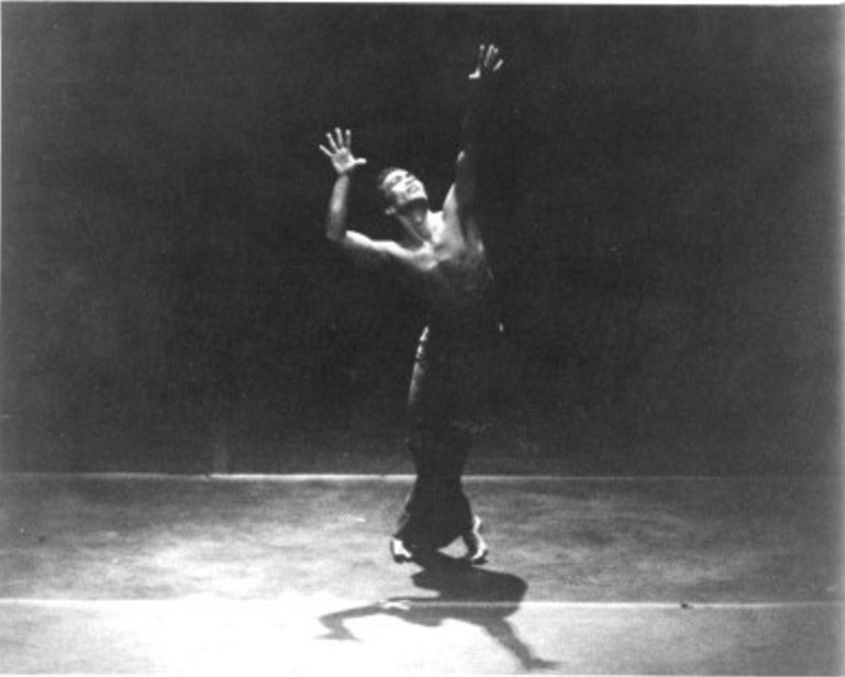 """Picture of Les Watanabe preforming """"Reflection in D"""" choreographed by Alvin Ailey."""