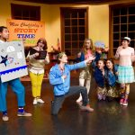 Cast members of 'Miss Chudderley's Fairy Tales with a Twist' include: (left to right) Elijah Roach, Maddy Moyes, Jaedon Lewis, Alexis Davis, Makenna Palumbo, Ayumi Stewart, Alanis Graham and Gavin Seifert.