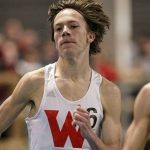 A picture of David Ribich in the process of running.