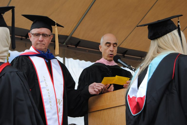 Tom Bergeron reading names at Commencement
