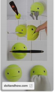 tennis ball decor for decorating your dorm