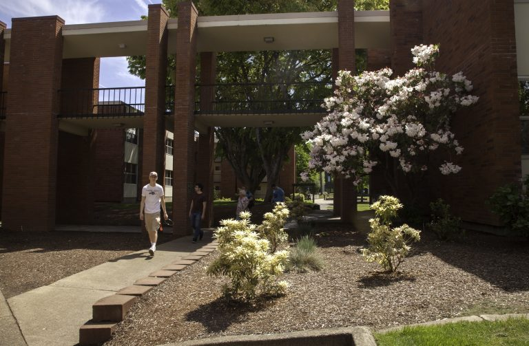 Outside of a brick residence hall in spring with blooming trees.