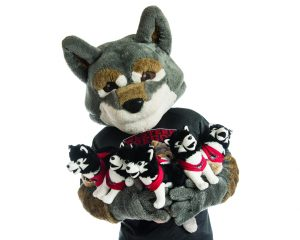 Wolfie holding stuffed aninals