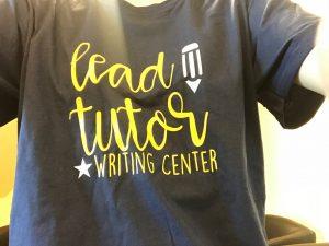 T-shirt reading Lead Tutor, Writing Center