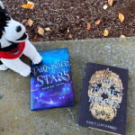 "Hardcover books of ""Tarnished are the Stars"" and ""The Bone Houses"" on a stone bench with a WOU Wolfie doll."