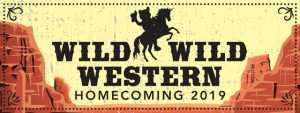 """Red rocks with text that says """"Wild Wild Western, Homecoming 2019"""" and an image of wolfie riding a unicorn"""