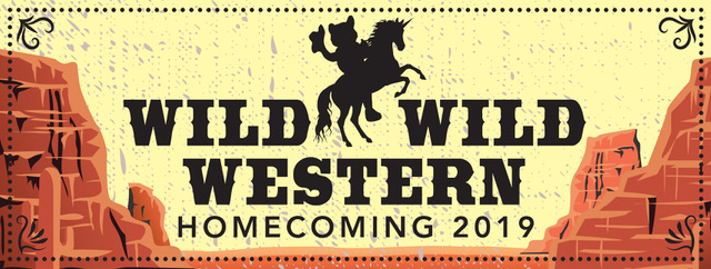 "Red rocks with text that says ""Wild Wild Western, Homecoming 2019"" and an image of wolfie riding a unicorn"