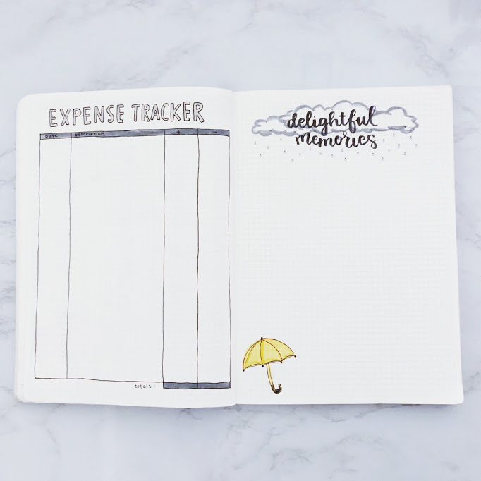 Bullet journal page for expense tracking and memories, decorated with a small, yellow umbrella