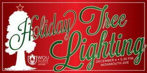 Red WOU Holiday Tree Lighting banner with green text and white tree silhouette