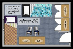 illustrated floorplan of an Ackerman room