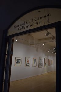Artwork on the walls of the Cannon Gallery of Art