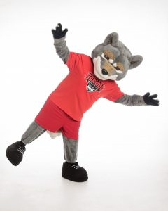 Wolfie waving his arms