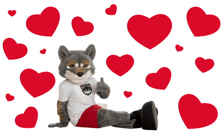 Wolfie surrounded by hearts