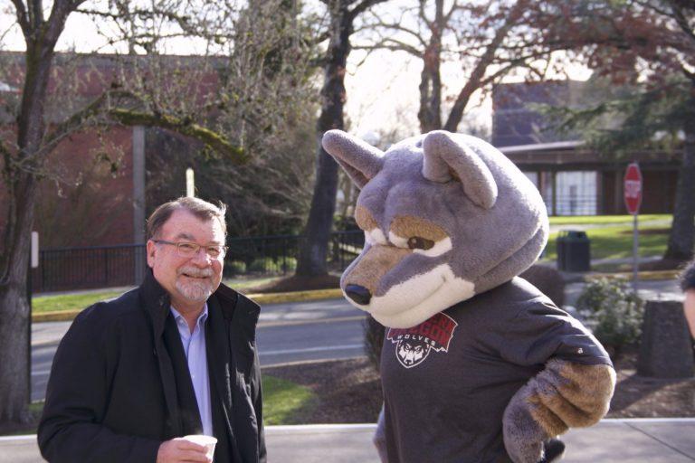 President Rex Fuller and Wolfie