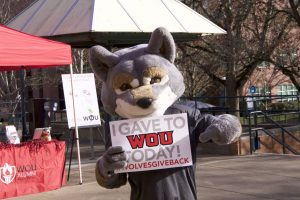 Wolfie with a sign about Giving Day