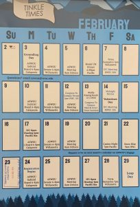 "Calendar with blue background that lists all of WOU's events for February 2020. ""Tinkle Times"" is written along the top of a cartoon a roll of toilet paper"