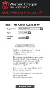"Homepage of the WOU Real Time Availability schedule. There are drop-down menus for departments, terms, and course levels. There is a black banner across the top with the WOU logo in read and ""Western Oregon University"" written in white."