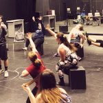 Students rehearsing the play, Urinetown