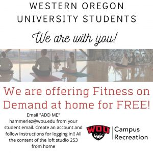 WOU offers Fitness on Demand at home
