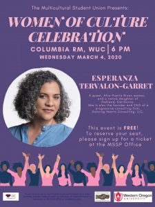 Purple poster displaying information about the Women of Culture Celebration, including a picture of keynote speaker Esperanza Tervalon-Garret.