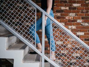 Person walking upstairs