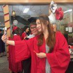 People at graduation ceremony