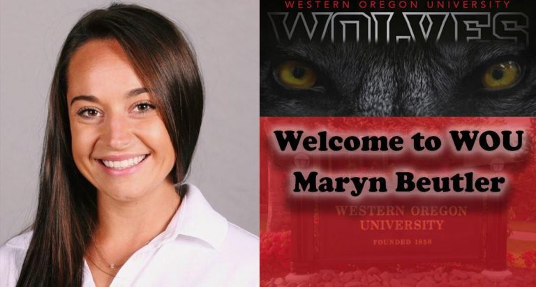 "Graphic with a woman smiling on the left and the eyes of a wolf on the right with the text ""Welcome to WOU Maryn Beutler"""