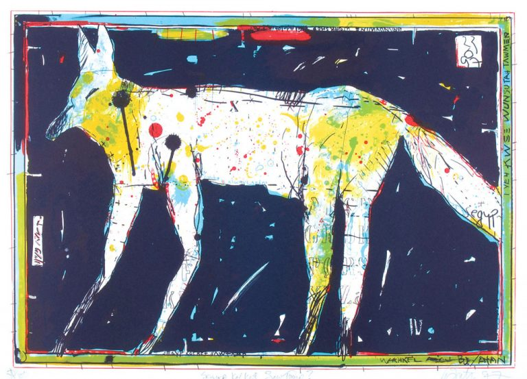 Lithograph by artist Rick Bartow of a four-legged white animal with other colors around it