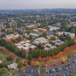Aerial view of WOU campus and Monmouth in fall