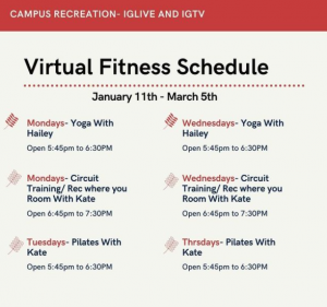 WOU Instagram Live Fitness Schedule. Yoga is offered Monday and Wednesday, Circuit Training is offered Monday and Wednesday, and Pilates is offered Tuesday and Thursday. Yoga and Pilates classes are from 5:45 - 6:30, and Circuit Training classes are from 6:45 - 7:30.