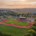 Aerial view of McArthur Stadium and the track