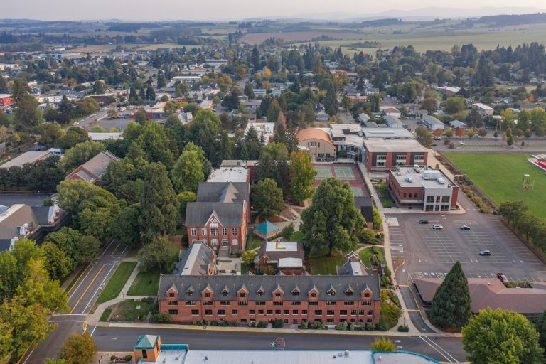 Aerial view of campus. Todd Hall in the foreground.