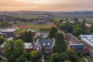 Aerial view of campus with Campbell Hall in the center