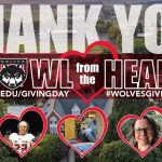 """WOU Giving Day Thank You graphic, with an aerial image of WOU in the background, and """"Howl from the Heart"""" written in the middle. Students, faculty, and staff are featured in five hearts along the bottom."""