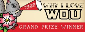Why I Love WOU grand prize winner. Graphic of a squirrel holding a megaphone
