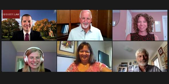 Screenshot of a Zoom meeting with six people; three across the top and three across the bototm
